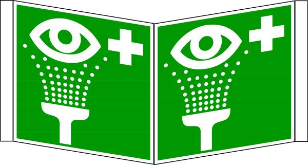 Rettungszeichen, Winkelschild Augenspüleinrichtung E 006 - DIN 4844