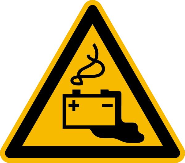 Warnzeichen Warnung vor Gefahren durch Batterien DIN EN ISO 7010-W026