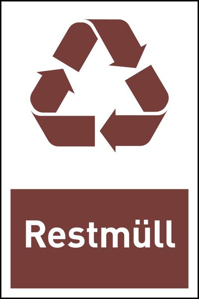 Design-Recyclingschild: Restmüll