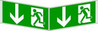 Rettungszeichen, Winkelschild Notausgang - DIN 4844