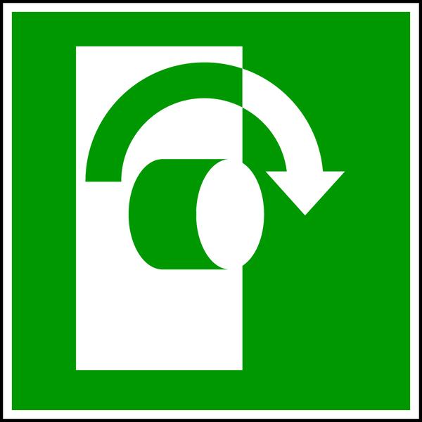 Rettungszeichen, Öffnung durch Rechtsdrehung E019 - ASR A1.3 (DIN EN ISO 7010)