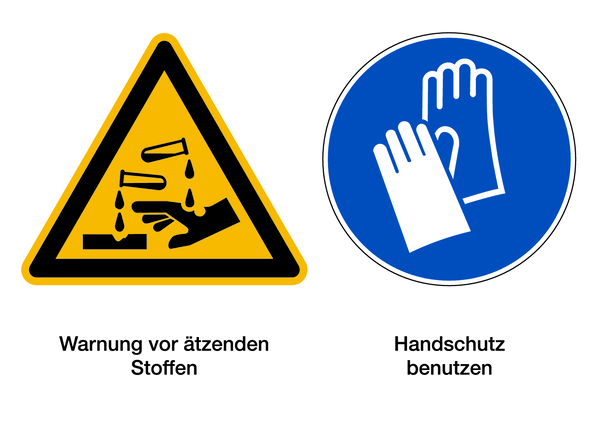Warnzeichen Kombischild Ätzende Stoffe / Handschutz tragen