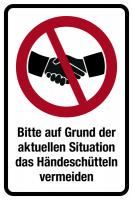 Hinweisschild, Händeschütteln vermeiden, Folie, 150 x 100 mm