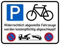 Parkverbotsschild, Fahrradstellplatz, 300 x 400 mm, Aluverbund