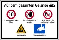 Hinweisschild, Betriebsgelände Schrittgeschwindigkeit, Aluverbund, 600 x 900 mm