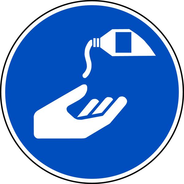 Gebotszeichen, Hautschutzmittel benutzen M022 - ASR A1.3 (DIN EN ISO 7010)