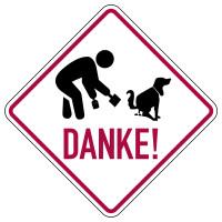 Hinweisschild, Piktogramm Hundekot aufsammeln, Danke, 200 x 200 mm, Aluverbund