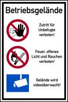 Hinweisschild, Betriebsgelände Zutritt verboten, Aluverbund, 900 x 600 mm