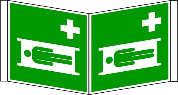 Rettungszeichen, Winkelschild Krankentrage E013 - ASR A1.3 (DIN EN ISO 7010)