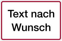 Hinweisschild, Alu: Rand geprägt - Grund: weiß, Schrift: schwarz, Rand: rot
