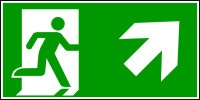Rettungszeichen, Notausgang aufwärts rechts - ASR A1.3 (DIN EN ISO 7010)