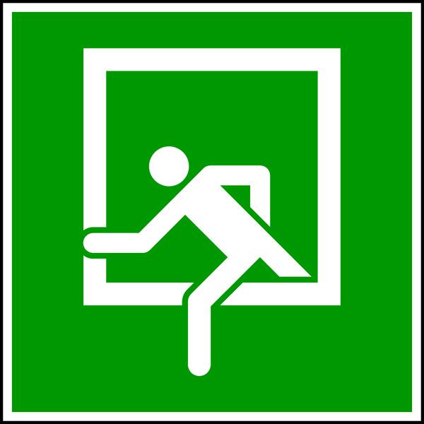 Rettungszeichen, Notausstieg E019 - ASR A1.3 (DIN 4844)