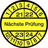 Prüfplakette, Nächste Prüfung, schwarz/gelb, Folie, Ø 12,5/30 mm - VE = 10 Plaketten