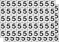 Klebezahlen, Ziffern von 0-9 wählbar, schwarz/weiß - VE = 100 Stk.