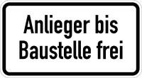 Verkehrszeichen - Anlieger bis Baustelle frei, Zusatzzeichen 1028-32