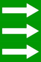 Fließrichtungspfeile gemäß DIN 2403, grün/weiß