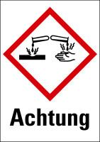 """Gefahrstoffkennzeichnung - Ätzwirkung (GHS05) & Signalwort """"Achtung"""" - Bogen à 16 Stück"""