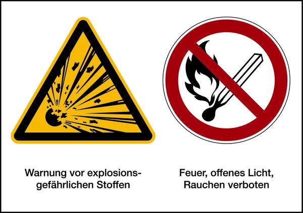 Warnzeichen Kombischild Explosionsgefährliche  Stoffe