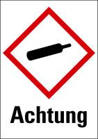 """Gefahrstoffkennzeichnung - Gasflasche (GHS04) & Signalwort """"Achtung"""" - Bogen à 16 Stück"""