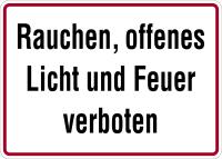 Hinweisschild, Rauchen, offenes Licht und Feuer verboten