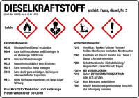 Gefahrstoffetikett, Dieselkraftstoff, Folie, mit H- und P-Sätzen /GHS/CLP/GefStoffV