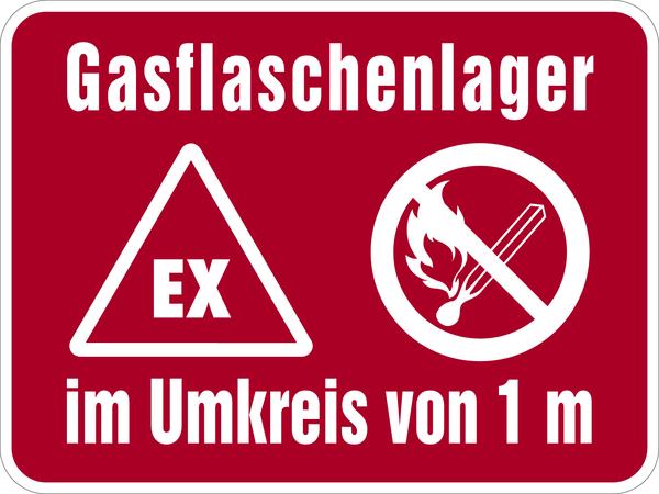 Hinweisschild, Gasflaschenlager