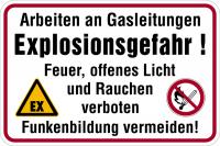 Hinweisschild, Arbeiten an Gasleitungen