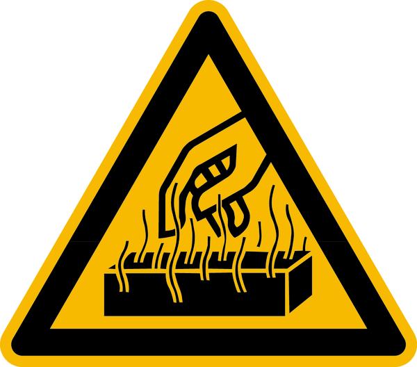 Warnzeichen Warnung vor heißen Werkstoffen