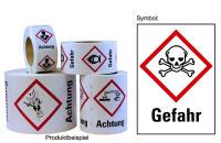 """Gefahrstoffkennzeichnung - Totenkopf (GHS06) & Signalwort """"Gefahr"""" - Rolle à 500 Stück"""