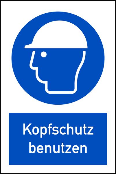 Kombischild Kopfschutz benutzen DIN EN ISO 7010