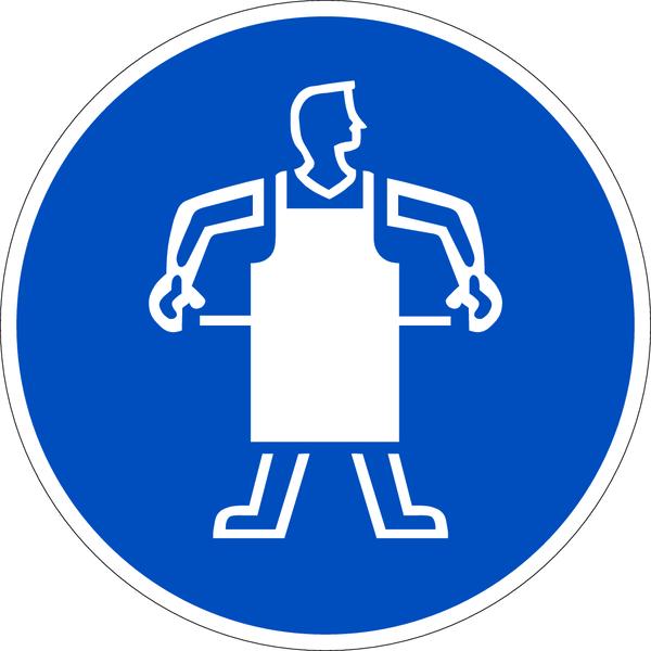 Praxisbewährtes Gebotszeichen Schutzschürze benutzen