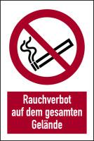 Verbotsschild, Kombischild, Rauchverbot auf dem gesamten Gelände, 300 x 200, Aluverbund, ISO 7010