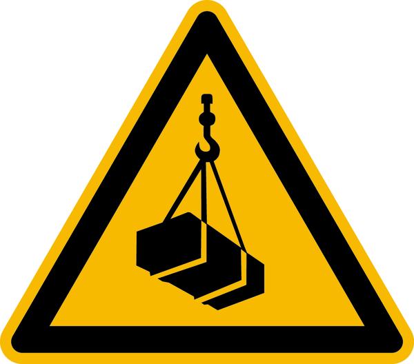 Warnzeichen, Warnung vor schwebender Last W015 - ASR A1.3 (DIN EN ISO 7010)