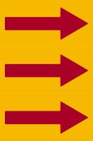 Fließrichtungspfeile gemäß DIN 2403, gelb/rot