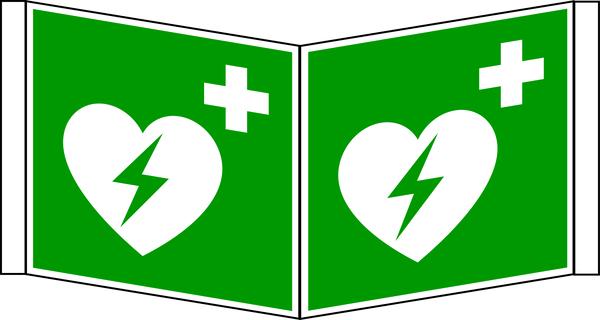 Rettungszeichen, Winkelschild Defibrillator E010 - ASR A1.3 (DIN EN ISO 7010)