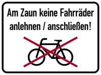Hinweisschild, Am Zaun keine Fahrräder, 300 x 400 mm, Aluverbund