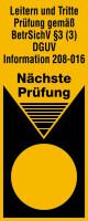 Grundplakette, Leitern, BetrSichV §3 (3) DGUV 208-016, Folie, 100 x 40 mm - VE = 100 Plaketten