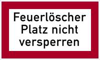 Brandschutzzeichen, Feuerlöscher Platz nicht versperren - angelehnt an DIN 4066