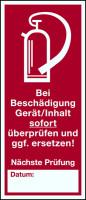 Brandschutzzeichen, Prüfsiegel für Feuerlöschgeräte - 1 VE = Bogen à 5 Stk