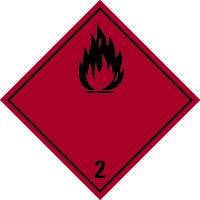 Gefahrzettel, Gefahrgutklasse 2 - Entzündbare Gase (rot/schwarz)