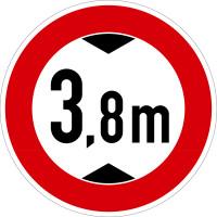 Verkehrszeichen - Verbot für Fahrzeuge über angegebene Höhe, Zeichen 265