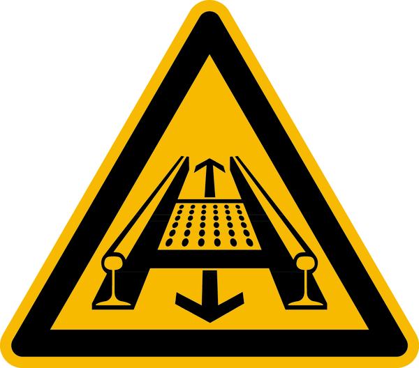 Warnzeichen, Warnung vor Gefahren durch eine Förderanlage im Gleis D-W029 - ASR A1.3 (DIN 4844)