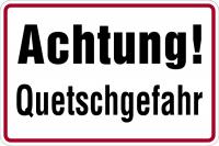 Hinweisschild, Achtung! Quetschgefahr, 200x300mm, Alu geprägt
