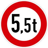 Verkehrszeichen - Verbot für Fahrzeuge über angegebenes Gewicht, Zeichen 262