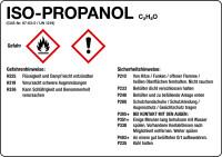 Gefahrstoffetikett, Isopropanol, Folie, mit H- und P-Sätzen /GHS/CLP/GefStoffV