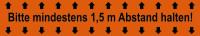 """Selbstklebendes Markierungsband, """"Bitte mindestens 1,5 m Abstand halten"""", Orange, Rolle à 66 m"""