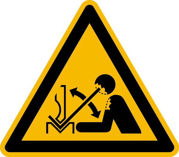 Warnzeichen, Warnung vor hochschnellendem Werkstück in einer Presse W032 - ASR A1.3 (ISO 7010)