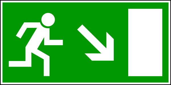 Rettungszeichen, Notausgang abwärts rechts E 13 - BGV A8
