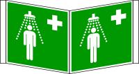 Rettungszeichen, Winkelschild Notdusche E012 - ASR A1.3 (DIN EN ISO 7010)