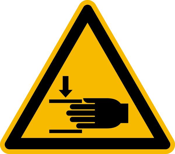 Warnzeichen, Warnung vor Handverletzungen W024 - ASR A1.3 (DIN EN ISO 7010)